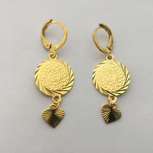 2 Pairs Coin Earrings For Women Gold Color Fashion Jewelry Woman Whole Earring Muslim