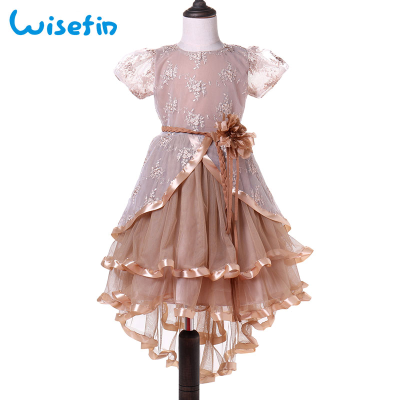 Wisefin Baby Lace Princess Tutu Dress Wedding Christening Gown Toddler Dress Summer Kids Party Dresses Flower Infant Clothes
