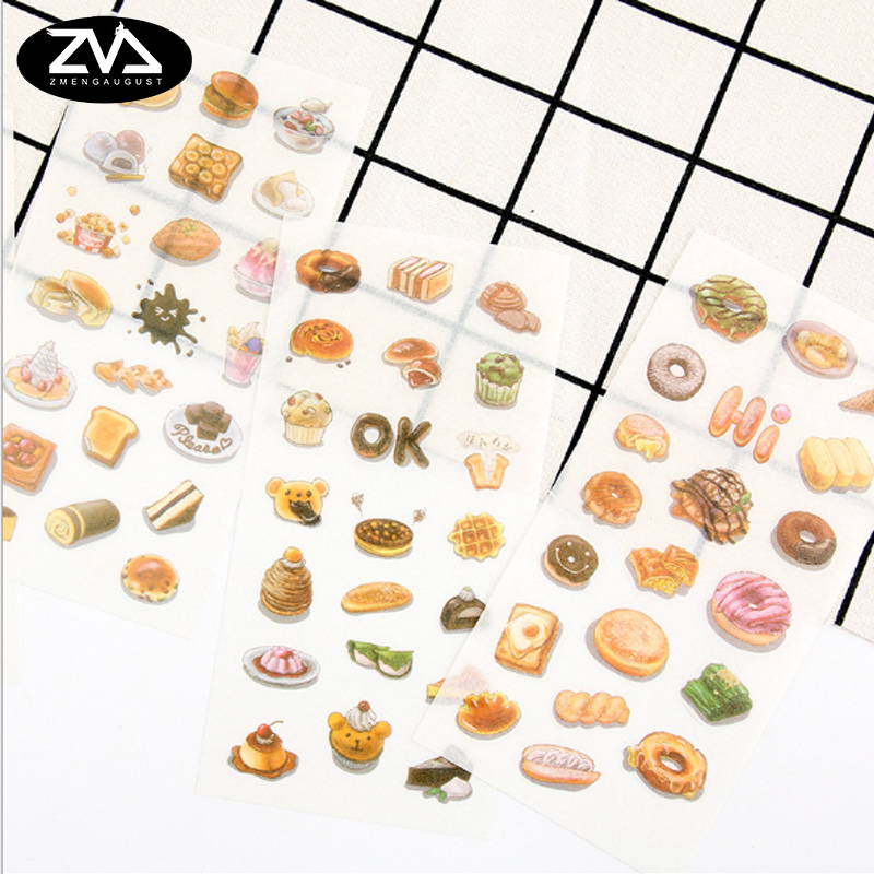 6 pcs/lot Small dessert Kids Decorative Stickers Adhesive Stickers DIY Decoration Diary Stationery Stickers Children Gift