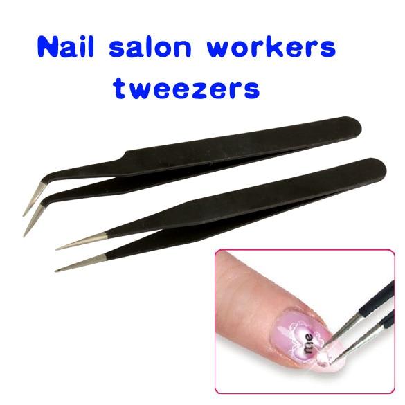 New 2Pcs Black Nail Tweezers Acrylic Gel Nail Art Rhinestones Paillette Nipper Picking Tool H7JP