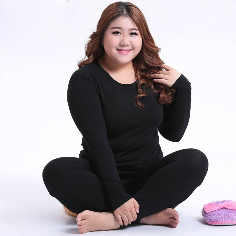 2019 Autumn Winter Plus Size 4XL Thermal  Underwear Set For Women Long Sleeve Long Johns Sleepwear Thick Warm Body Shaper Pajama