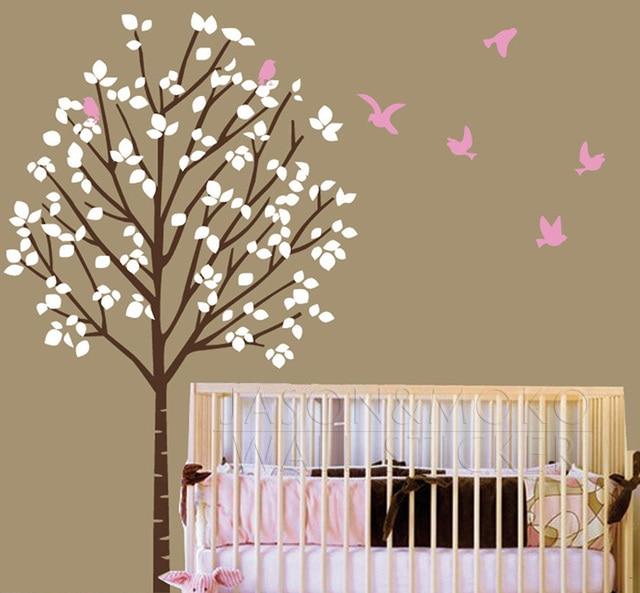 Nursery Wall Decal Tree Vinyl Forest Birds Sticker Customized Wallpaper Bedroom Art 100