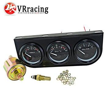 VR-52mm Electrial Triple Kit (voltmètre + oil Temp Gauge de Pression D'huile Jauge) capteur Température De Voiture Auto Gauge/Noir/Pod