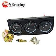 Kit Triple Electrial VR - 52mm (voltímetro + medidor de temperatura de aceite + medidor de presión de aceite) Sensor de temperatura Auto indicador/Negro/Pod
