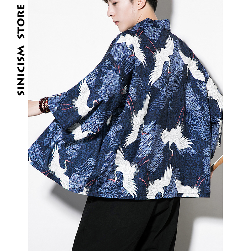 Sinicism Store Mens White Crane Print Shirts Man Summer Kimono Shirts Male Three Quarter Sleeve Open Stitch Shirts ...