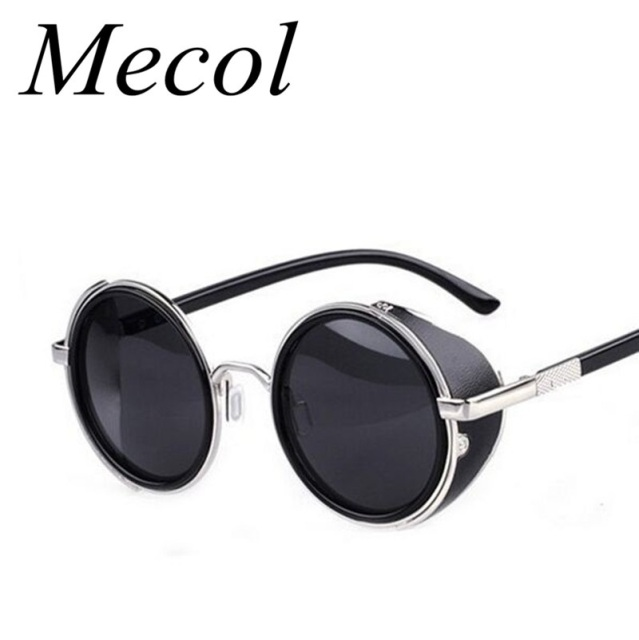 8990d43fee1b6 Steampunk Sunglasses Women Round Glasses Goggles Men Side Visor Circle Lens  Unisex Vintage Retro Style Punk