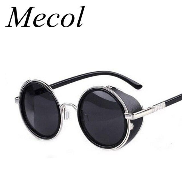 Steampunk Sunglasses mulheres rodada óculos óculos homens lado viseira lente círculo Unisex Retro Vintage estilo Punk Oculos De Sol M027