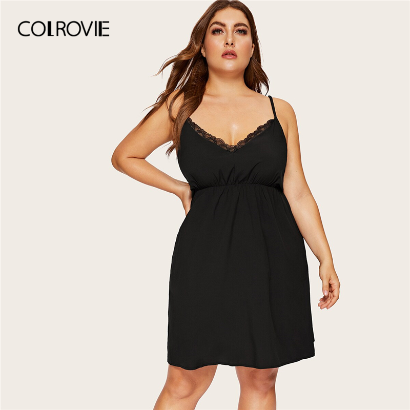 COLROVIE Plus Size Black Contrast Lace Night Dress Women 2019 Sexy Summer Sleeveless Sleepwear Ladies Solid V Neck Loungewear