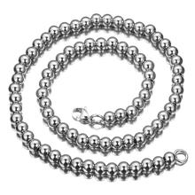 10mm Ball beads Chain Necklace Silver Color Stainless Steel Round beads Necklace Chain Long Fashion Jewelry Men Women Party stylish women s beads round arc necklace