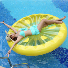 150cm Lemon Inflable Swimming Ring Pool Float Gonflable Swimming Mattress Kids Float Bed Inflatable Pool Party Toys boia Piscina(China)