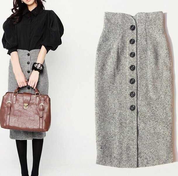 Limiguyue 2018 осень твид юбки серый одной кнопки Высокая талия женщины юбка  носить на работу Бизнес 106dd6f0aa4