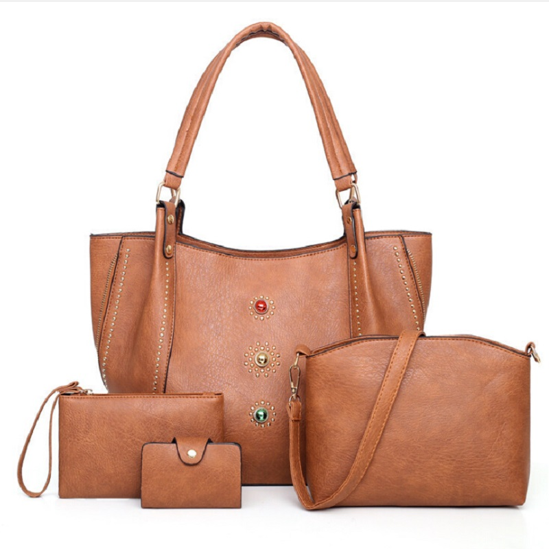 Ladies Set Bags 4 pieces pu leather large casual tote hand bag 2019 women  hand travel shoulder messenger crossbody set bags