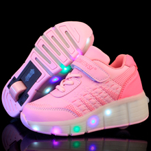 New 2016 Child Wheely's Jazzy LED Light Heelys Roller Skate Shoes For Children Kids Junior Girls Boys Sneakers With Wheels