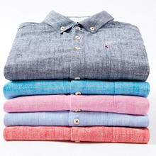 England Style Men Fashion Solid Color Cotton Linen Shirts Camisa,Solid Turn-down Collar Comfortable Slim Fit Cloth