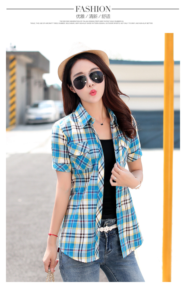 HTB1RRzJHFXXXXcIXpXXq6xXFXXXJ - New 2017 Summer Style Plaid Print Short Sleeve Shirts Women