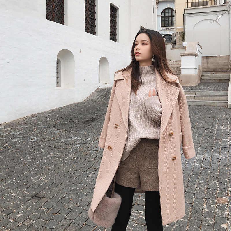 Mishow 2019 sonbahar ve kış yün ceket kadın orta uzun yeni kore mizaç kadın popüler giyim yün ceket MX18D9662