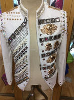 Customized Crystals Shining Jacket Stage Beaded Costumes Handmade Rhinestone Men's Nightclub Coat Outerwear Male Singer Outfit