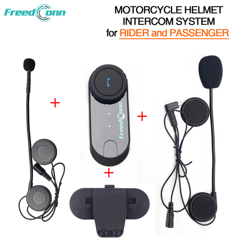 Freedconn T COM02S Motorcycle Helmet Interphone Bluetooth Helmet Headset for Rider and Passenger Pillion Intercom System