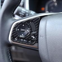 Карбоновое волокно накладка на руль кнопка рамка панель Крышка для Honda Civic