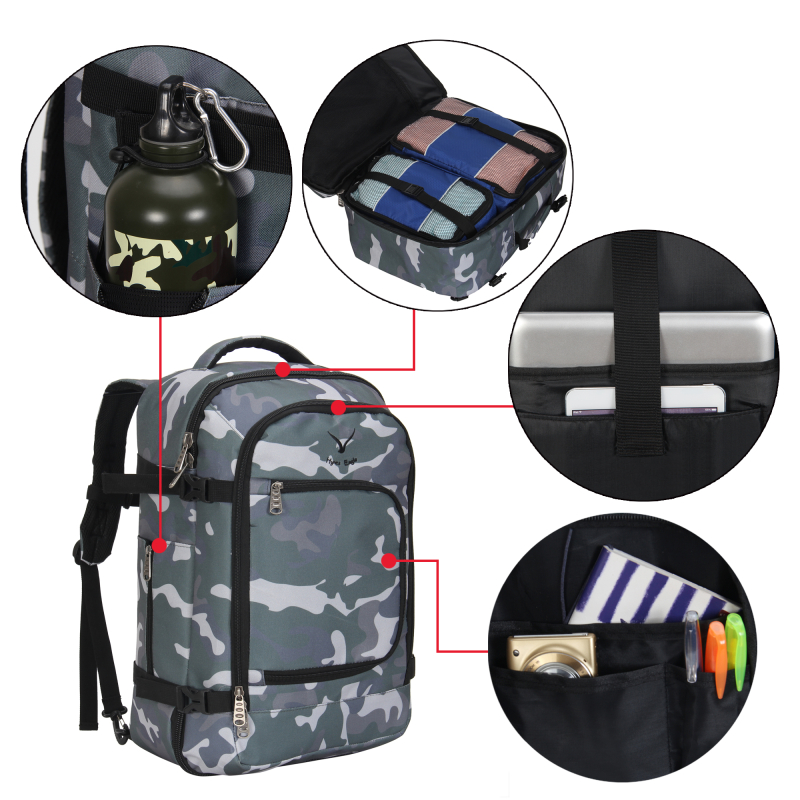 Hynes Eagle Waterproof Travel Backpack 40l Flight Approved Carry On Backpack Multifunction Camouflage Luggage Backbag