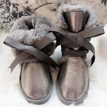 New Top Fashion Genuine Sheepskin Leather Woman Snow Boots Waterproof Winter Boots 100% Natural Fur Warm Wool Women Boots