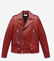2017 Real Full Zipper Sale Top Fashion Rivet Pu Jacket Custom Clothing Europe Simple Retro Punk Slim Locomotive Women Jackets