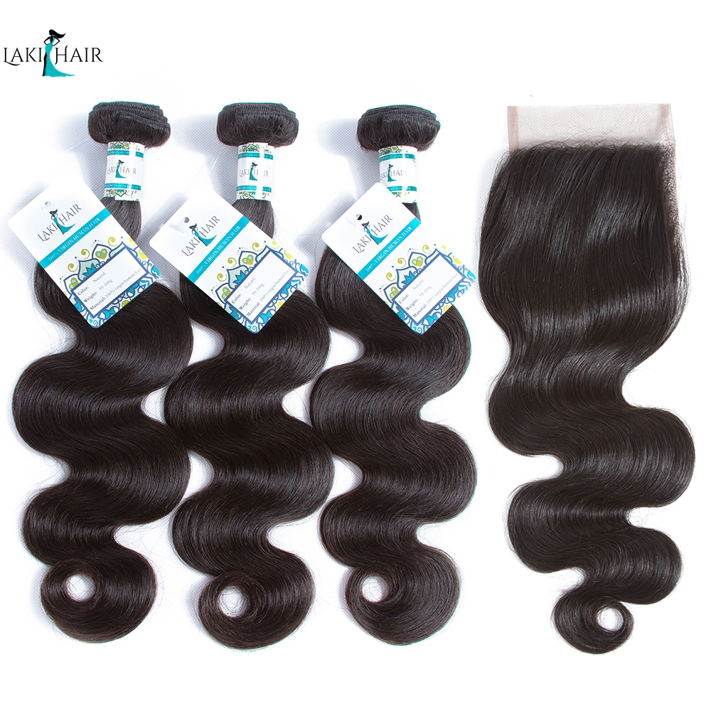 Lakihair Hair Products Brazilian Body Wave With Closure Non Remy Hair Weft Weave 3 Bundles Human Hair Bundles With Closure