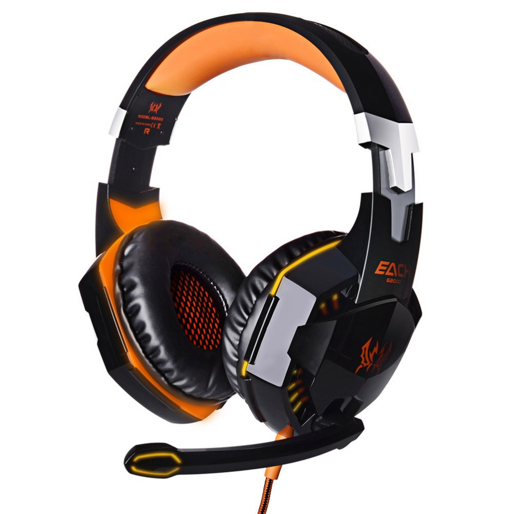 EACH G2000 Gaming Headset Stereo Sound 2.2m Wired Headphone Deep Bass Surrounded Noise Reduction Hidden Microphone for PC Game