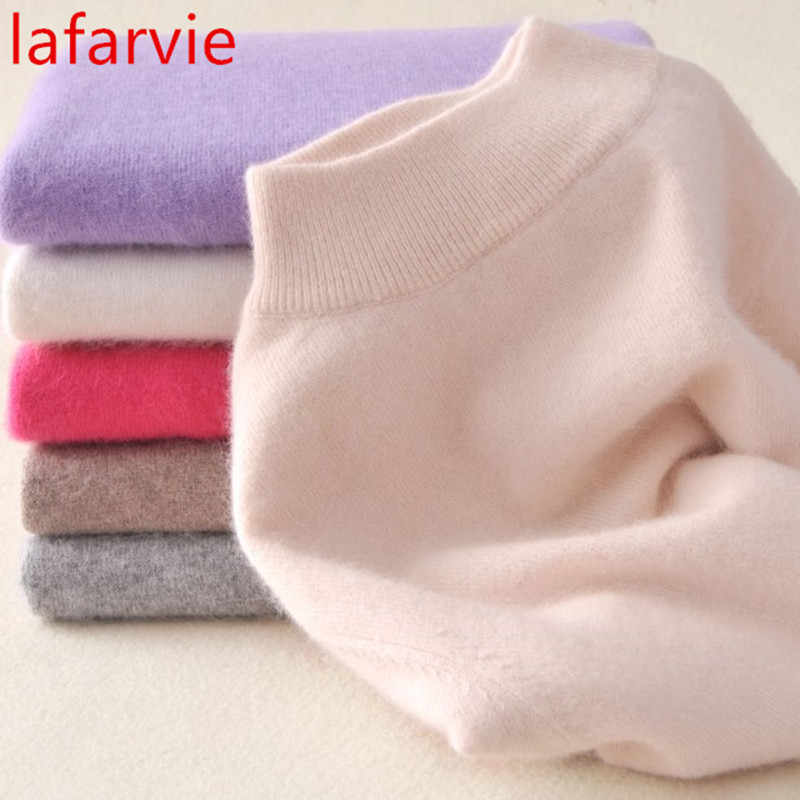 Lafarvie Hot High-quality Cashmere Sweaters Women Fashion Autumn Winter Female Soft and Comfortable Warm Slim Cashmere Pullovers