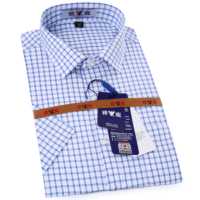 2acb04a28f7 Men's Short Sleeve Blue white Plaid Dress Shirt with Left Chest Pocket  Comfort Soft Lightweight Slim-fit Business Casual Shirts