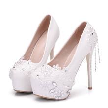 New Women Sweet White Super High Heels Platform Shoes Quality Pumps Spring Newest Round Toe Dress Plus Size XY-A0025