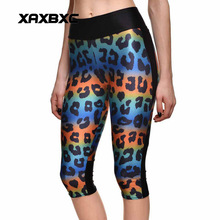 New 1261 Sexy Girl Women Rainbow leopard Stripe 3D Prints Workout stretch Fitness Elastic Cropped Trousers