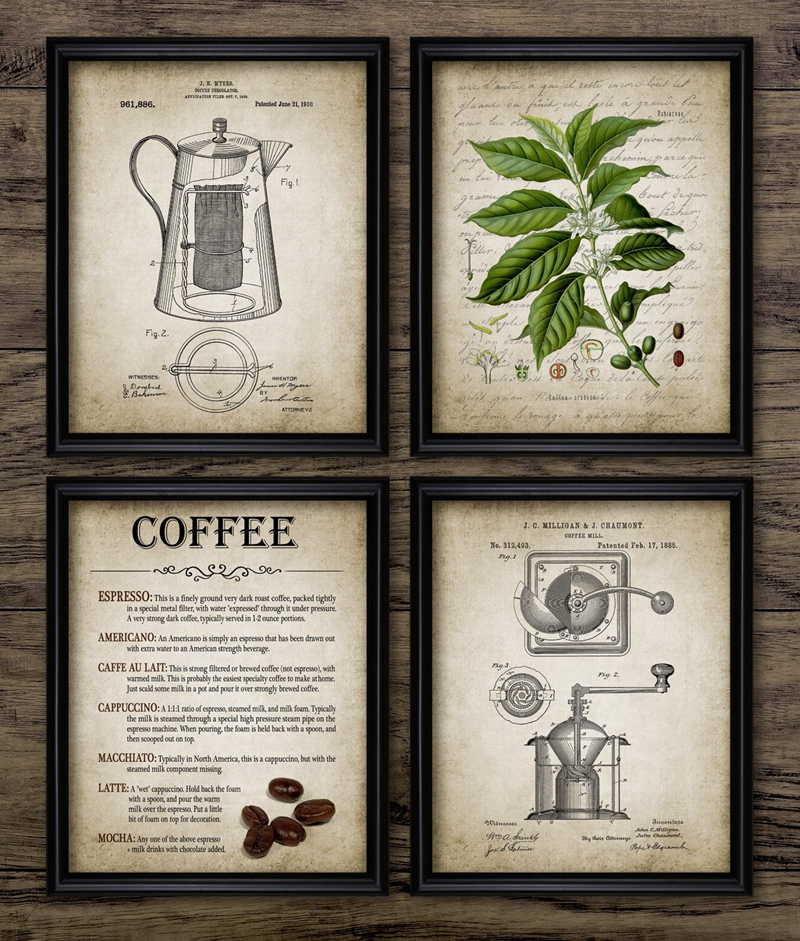 Coffee Making Art Canvas Painting Home Decoration