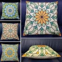 Geometric Cushion Cover Decorative Pillows Print Sofa Car Cotton Linen Decoration Pillowcase Green Pillow for