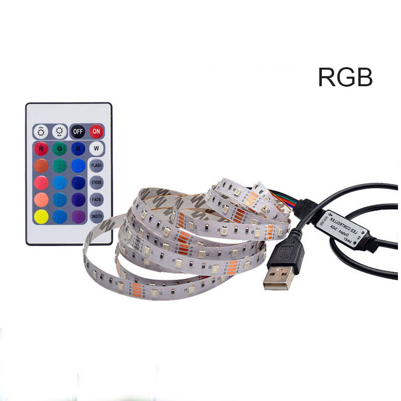 USB LED Strip Lamp NOT Waterproof RGB 5V SMD 3528 RI Remote Control TV LED Tape Stripe Ribbon Light For PC Computer Background