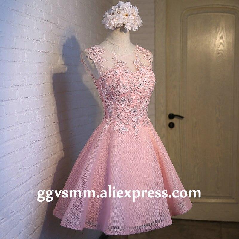 Envío rápido Pink Lace Prom vestidos 2018 corto vestido de fiesta ...