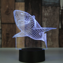 7 Colors Changing Creative Shark 3D LED Night Light Three-dimensional Kids Living room Bed lamp Table Lamp 3D LED Lamp decorate