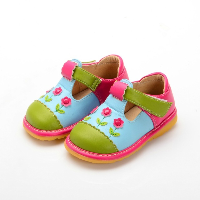 2016 Baby Shoes Squeaky Shoes Mixed Colors Toddler Girl Autumn Shoes Free Shipping Children Girl Leather Shoes