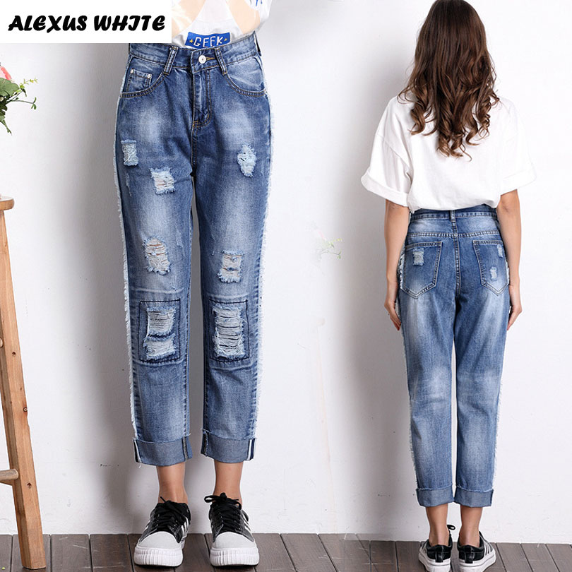 Loose Hole Ripped Jeans Women 217 Summer Casual Straight Pants Ankle-Length Female Mid Waist Denim Trousers Blue Femme Pantalon summer ripped hole jeans ankle length pants women high waist loose vintage harem denim pants plus size casual blue jeans female