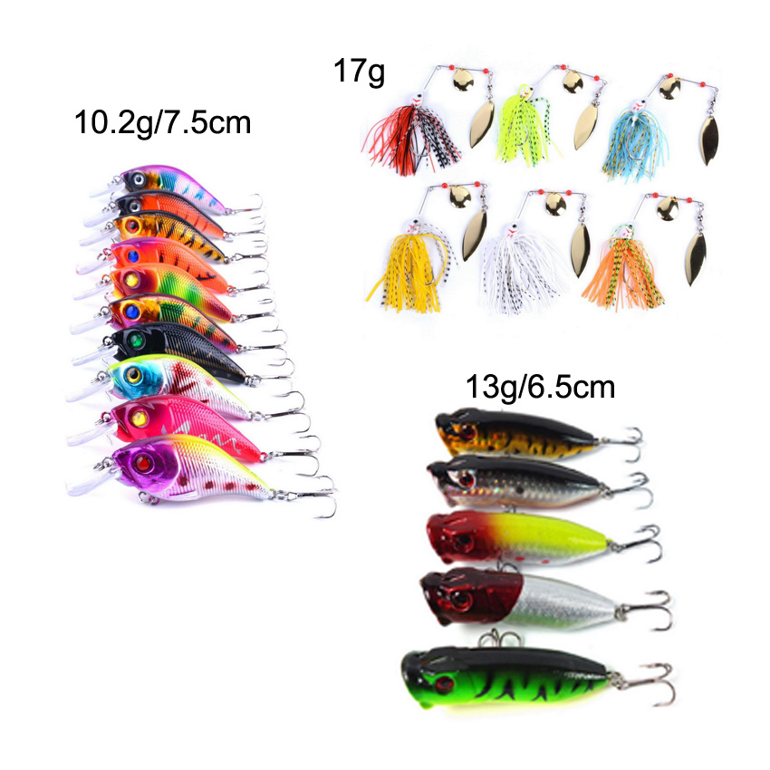 21pcs Mixed Fishing Lure Bait Set Kit Spinnerbait/Crankbait/Popper Wobbler Crankbait Swimbait With Treble Hook Spinner Spinners 1pcs crankbait hard fishing lure artificial bait 7 5cm 8 3g wobbler swimbait minnow bait treble hook x 16