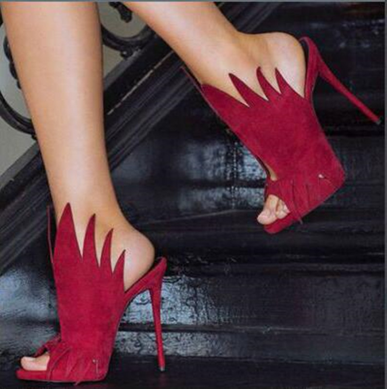 FGHGF Women's high-heeled sandals, 12cm black and red suede shoes, sexy high-heeled open-toe sandals