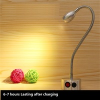 10 50CM 1W /3W recharging led flexible tube spot lamp,portable wireless wedding,jewelry accent background battery wall light