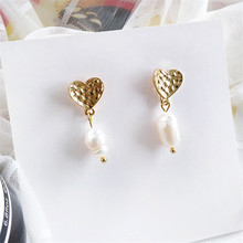 Korea New Design Matte Metal Gold  Irregular Geometric earrings Natural Freshwater Pearl Earrings for Women