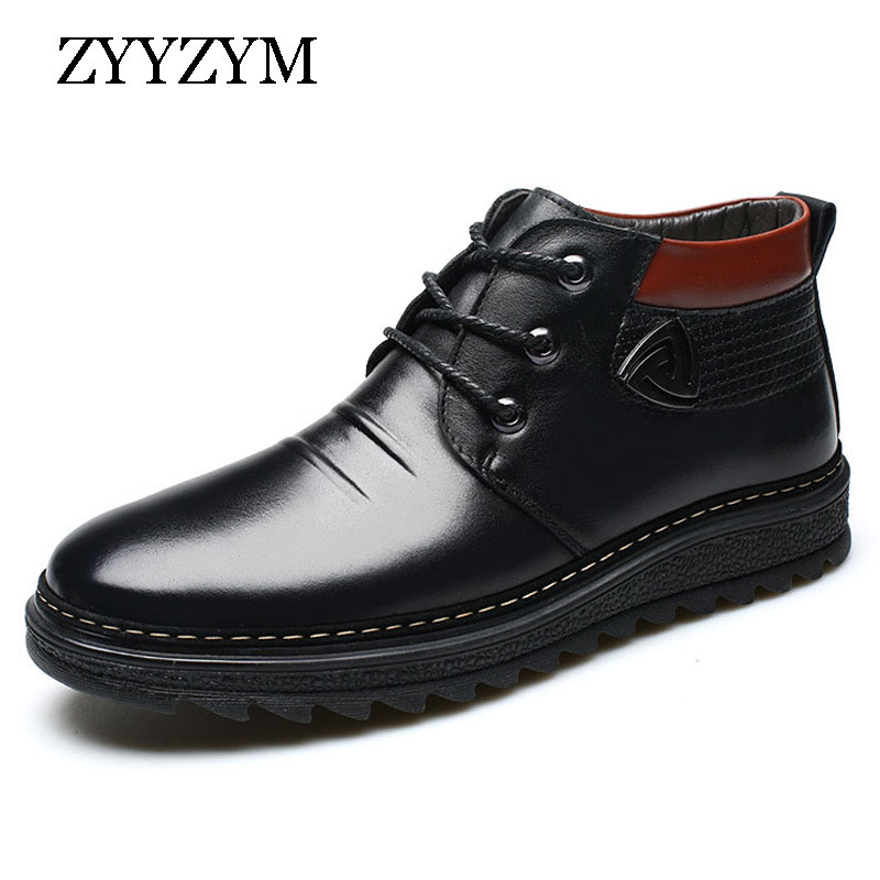 ZYYZYM Men Winter Snow Boots Wool Blend Warmest Leather Russian Style Non-slip Men Boots men male wool blend newsboy beret cap grid blank thick flat cowboy cabbie hat