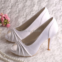 (21 Colors)Custom Handmade Wedopus White Wedding Shoes Bride Dress Shoes High Heeled
