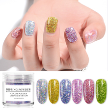 MEET ACROSS Holographic Nail Powder 10ml Gradient Dipping Glitter Decoration Natural Dry Without Lamp System