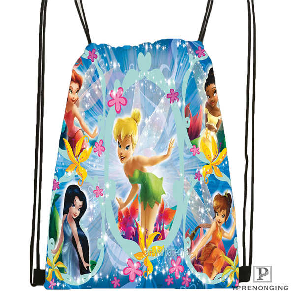 Custom Peter-Pan-Flying-With-Tinkerbell Drawstring Backpack Bag Cute Daypack Kids Satchel (Black Back) 31x40cm#20180611-02-83