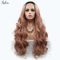 Sylvia золото розовый парик длинные волосы синтетические Синтетические волосы на кружеве Искусственные парики для Обувь для девочек дамы тем...