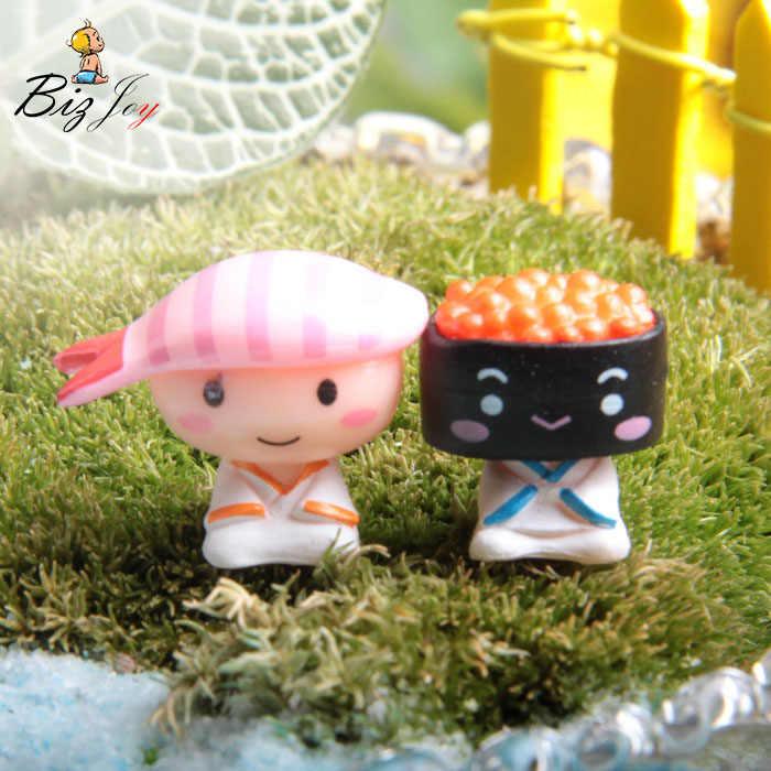 2 pçs/lote os amantes de Sushi Action Figure 3 cm PVC Micro Paisagem decoração Modelo Boneca pequeno jardim ornamento Bonito dos desenhos animados Anime