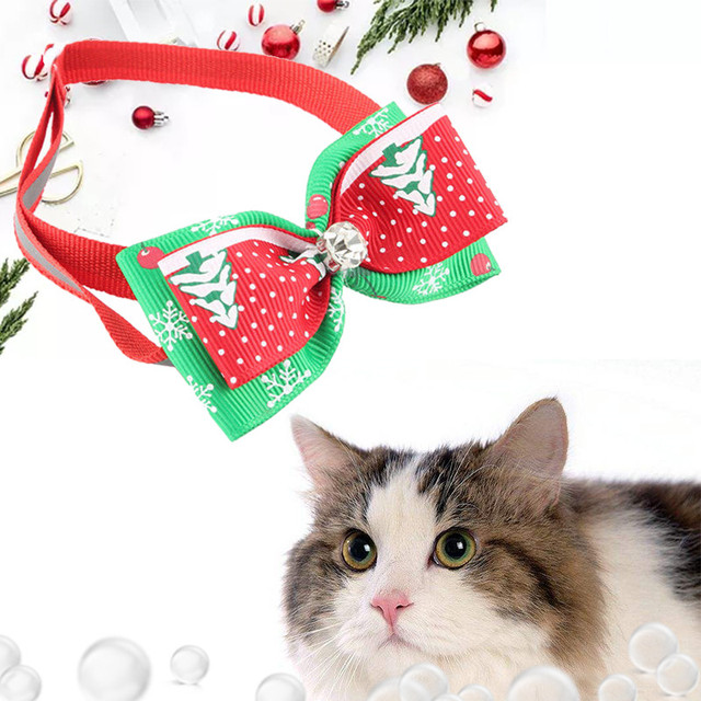2pcs Pet Bow Tie for Christmas Polyester Adjustable Size